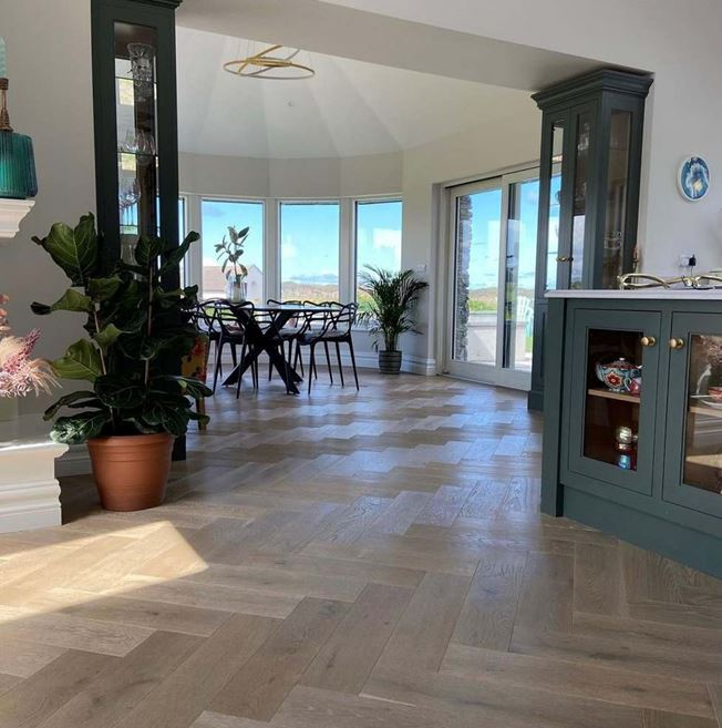 Oak Smoked Brushed White Oiled Herringbone Parquet - Photo by inside_annies_home