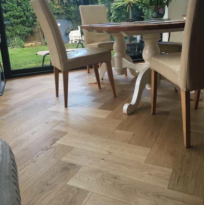 Oak Brushed Matt Lacquer Herringbone Engineered Parquet Flooring