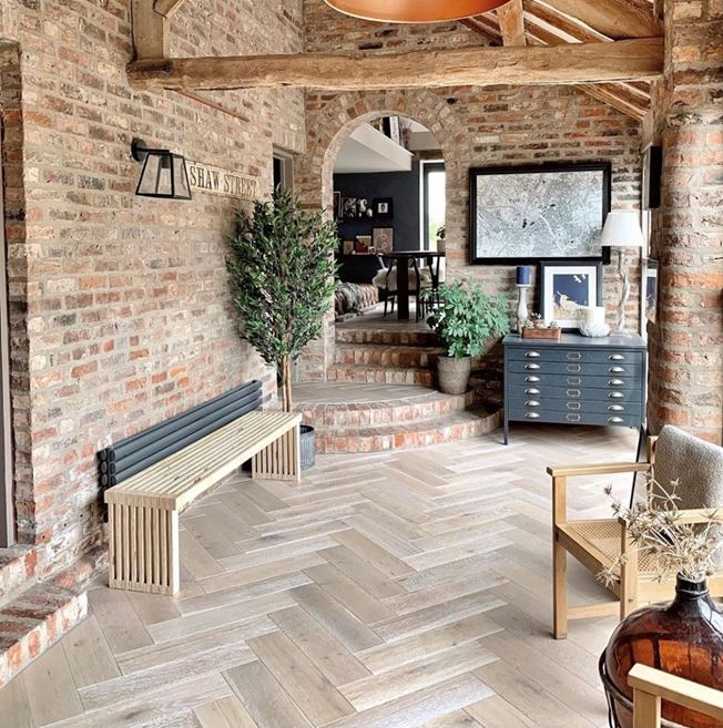 Oak Clay Grey Herringbone Engineered Parquet Flooring