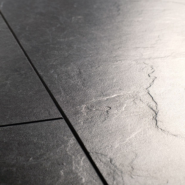 Quickstep exquisa slate black galaxy exq1551 laminate flooring for Slate laminate flooring