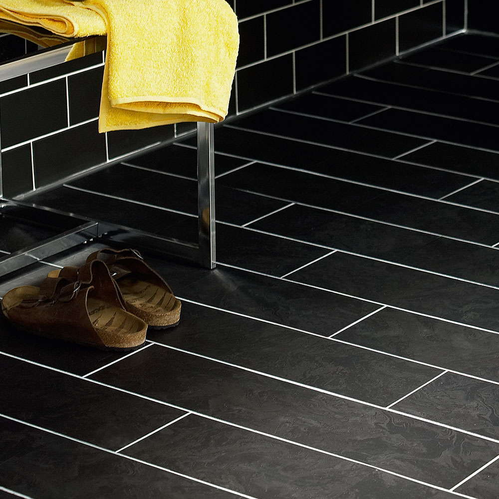 Polyflor camaro black oilshale 2340 vinyl flooring for Black vinyl floor tiles