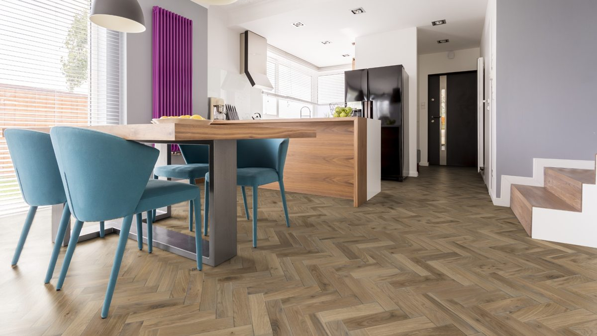 European Solid Oak Rustic Parquet Platinum Grey B&O