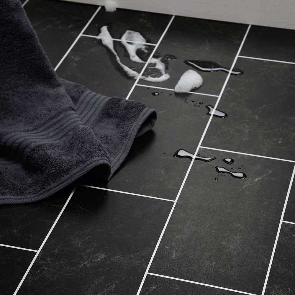 Black vinyl floor 2017 grasscloth wallpaper for Black vinyl floor tiles