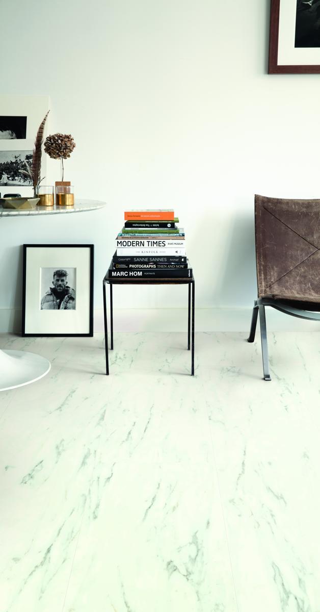 Quickstep Livyn Ambient Marble Carrara AMCL Vinyl Flooring - Hom commercial flooring
