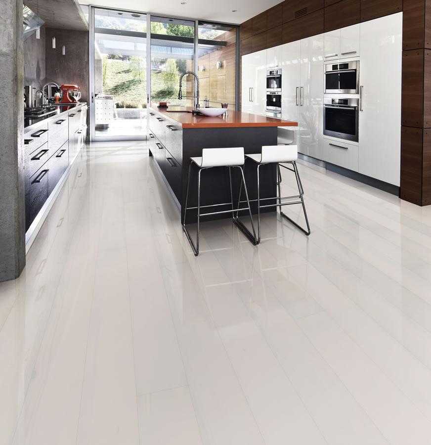 White Gloss Kitchen Flooring: Kahrs Beech Opaque Engineered Wood Flooring