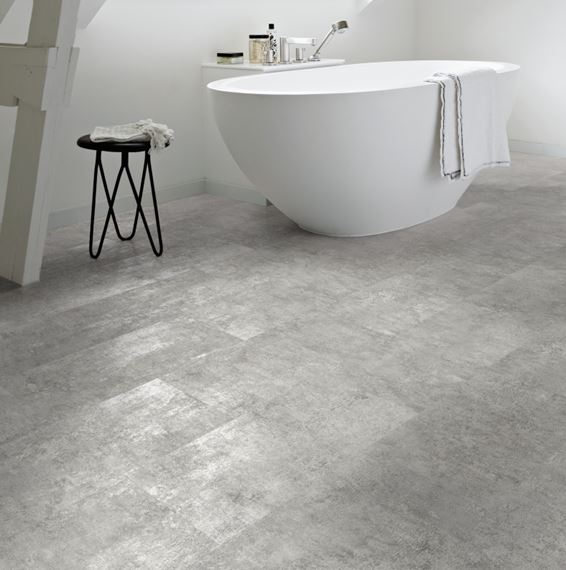 Polyflor Camaro Loc Grey Flagstone, Vinyl Flooring For Bathrooms