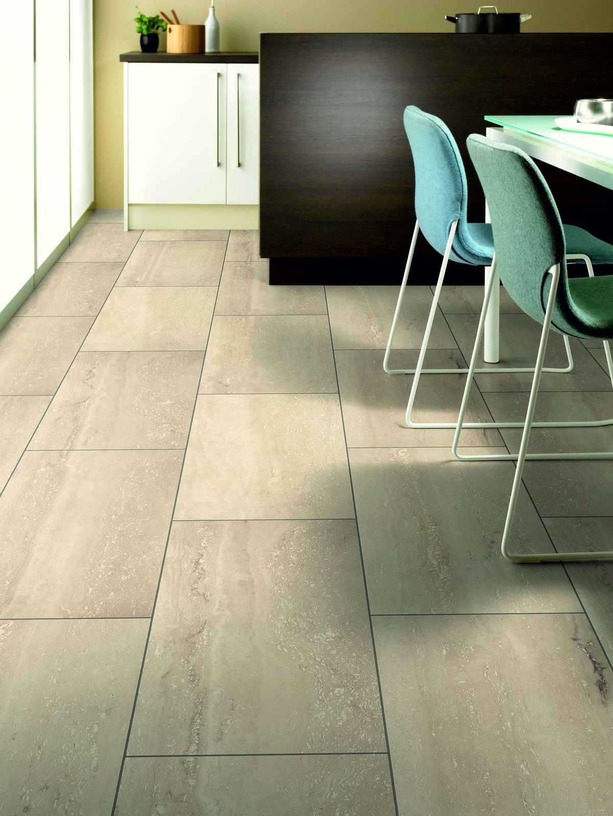 Kronospan stone impression palatino travertine laminate for Square laminate floor tiles