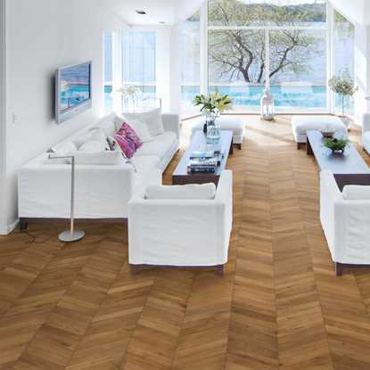 Kahrs Oak Chevron Light Brown Engineered Wood Flooring