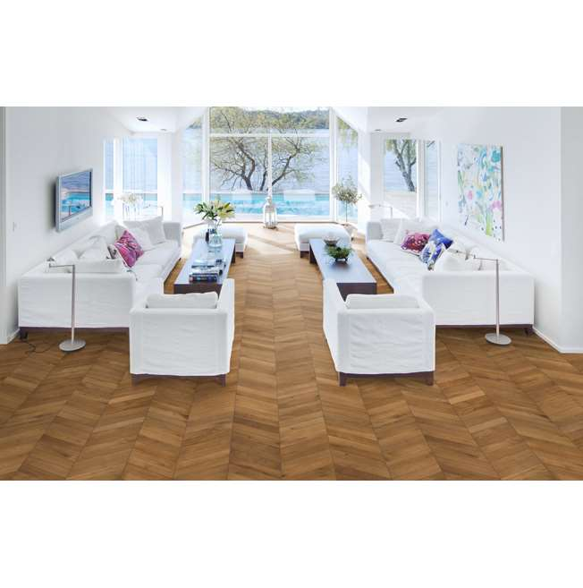 Kahrs Oak Chevron Light Brown Engineered Wood Flooring