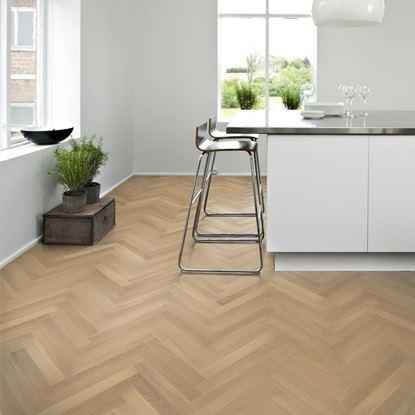 Kahrs Herringbone Oak Kinna White Matt Parquet Flooring