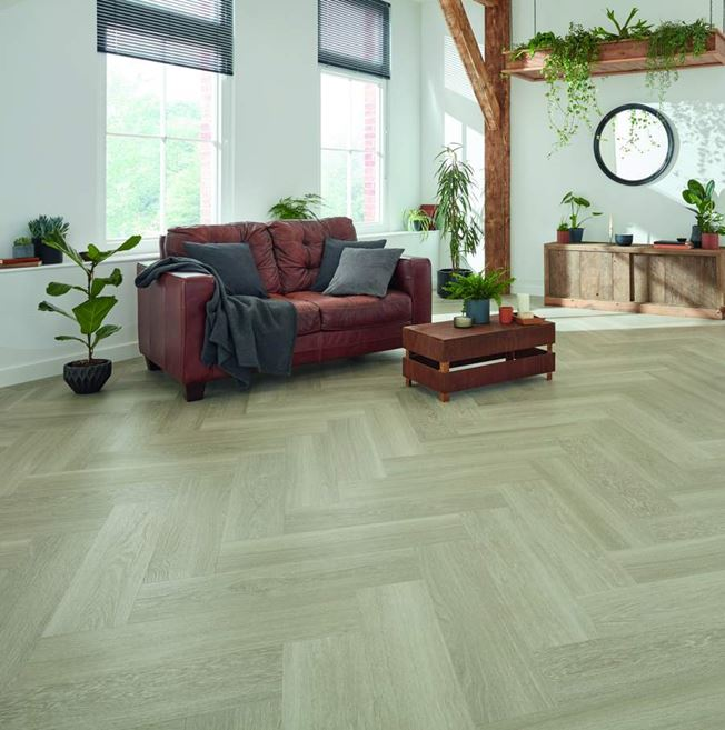 Karndean Van Gogh Grey Brushed Oak Parquet Vinyl Flooring