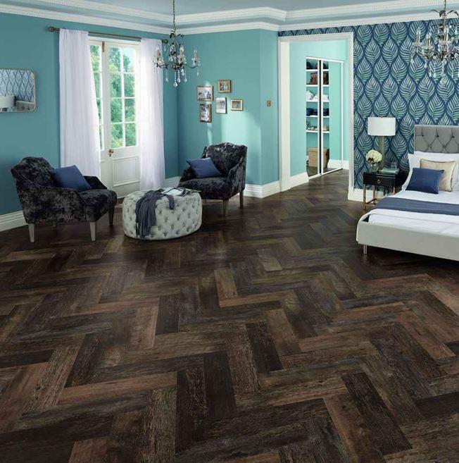 Karndean Van Gogh Salvaged Barnwood Parquet Vinyl Flooring