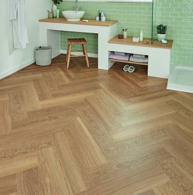 Karndean Van Gogh Warm Brushed Oak Parquet Vinyl Flooring
