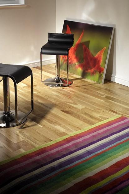 Natura 90mm Oak Lacquered Solid Wood Flooring
