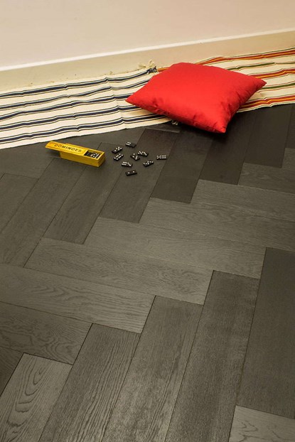 Natura Oak Black Charcoal Herringbone Engineered Parquet