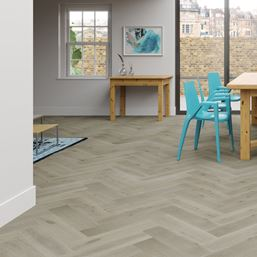 Oak Clay Grey Herringbone Engineered Parquet Flooring