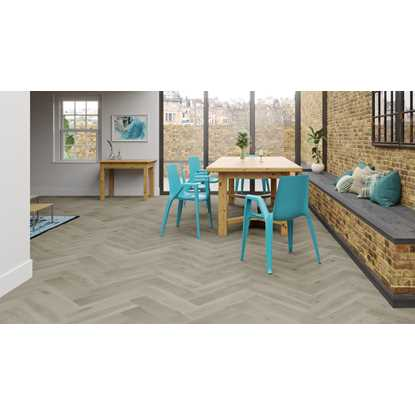 Natura Oak Clay Grey Herringbone