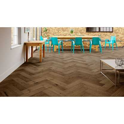 Natura Oak Smoked Brushed Oiled Herringbone