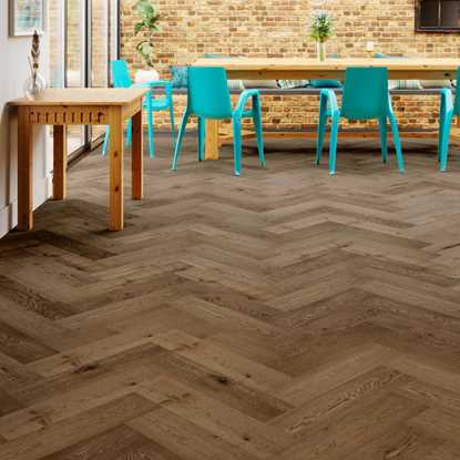 Natura Oak Smoked Brushed Oiled Herringbone Engineered Parquet