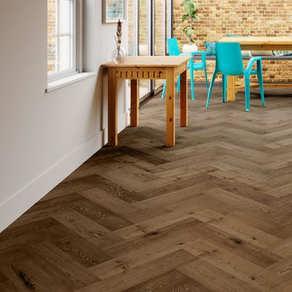 Oak Smoked Brushed Oiled Herringbone Engineered Parquet Flooring