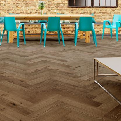 Oak Smoked Brushed Oiled Herringbone Engineered Parquet