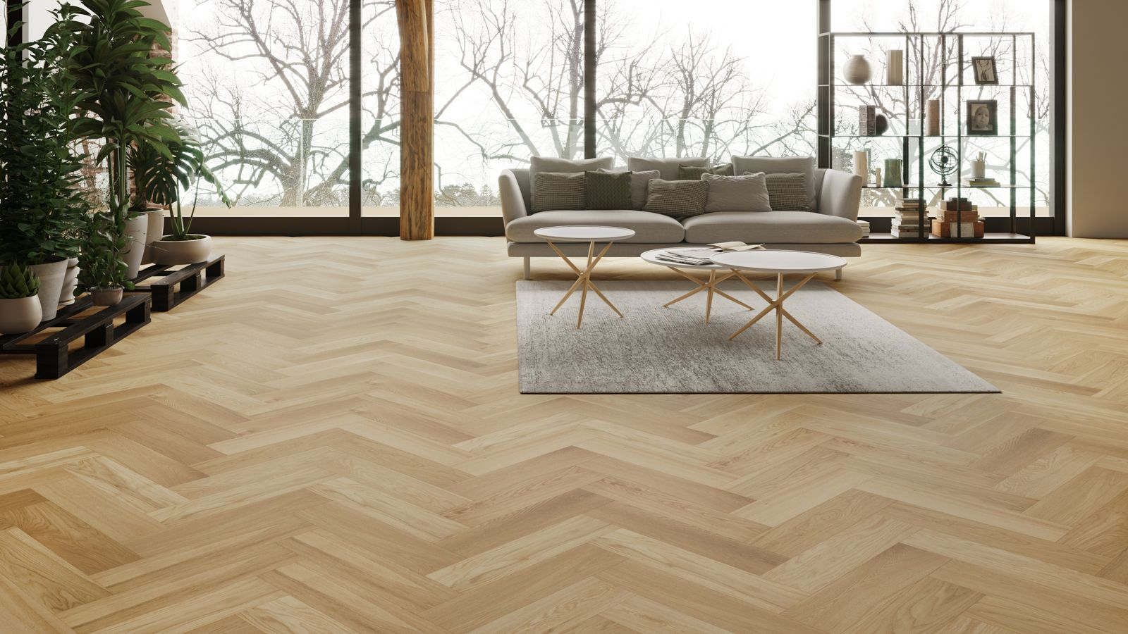 Natura Oak Matt Lacquer Herringbone Engineered Parquet