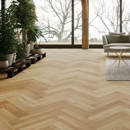 Oak Brushed Matt Lacquer Herringbone Engineered Parquet Flooring