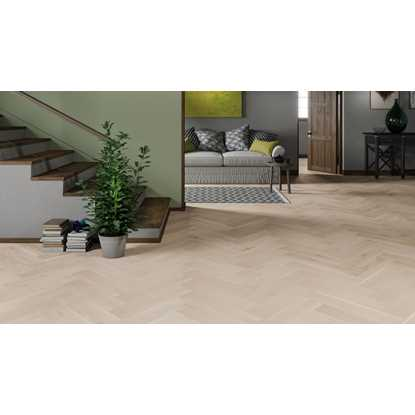 Natura Oak Brushed White Matt Herringbone Engineered Parquet