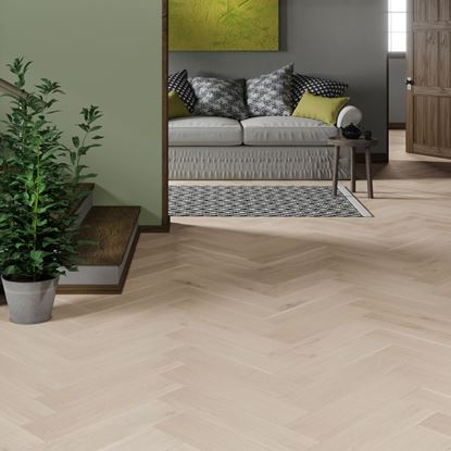 Oak Brushed White Matt Herringbone Engineered Parquet