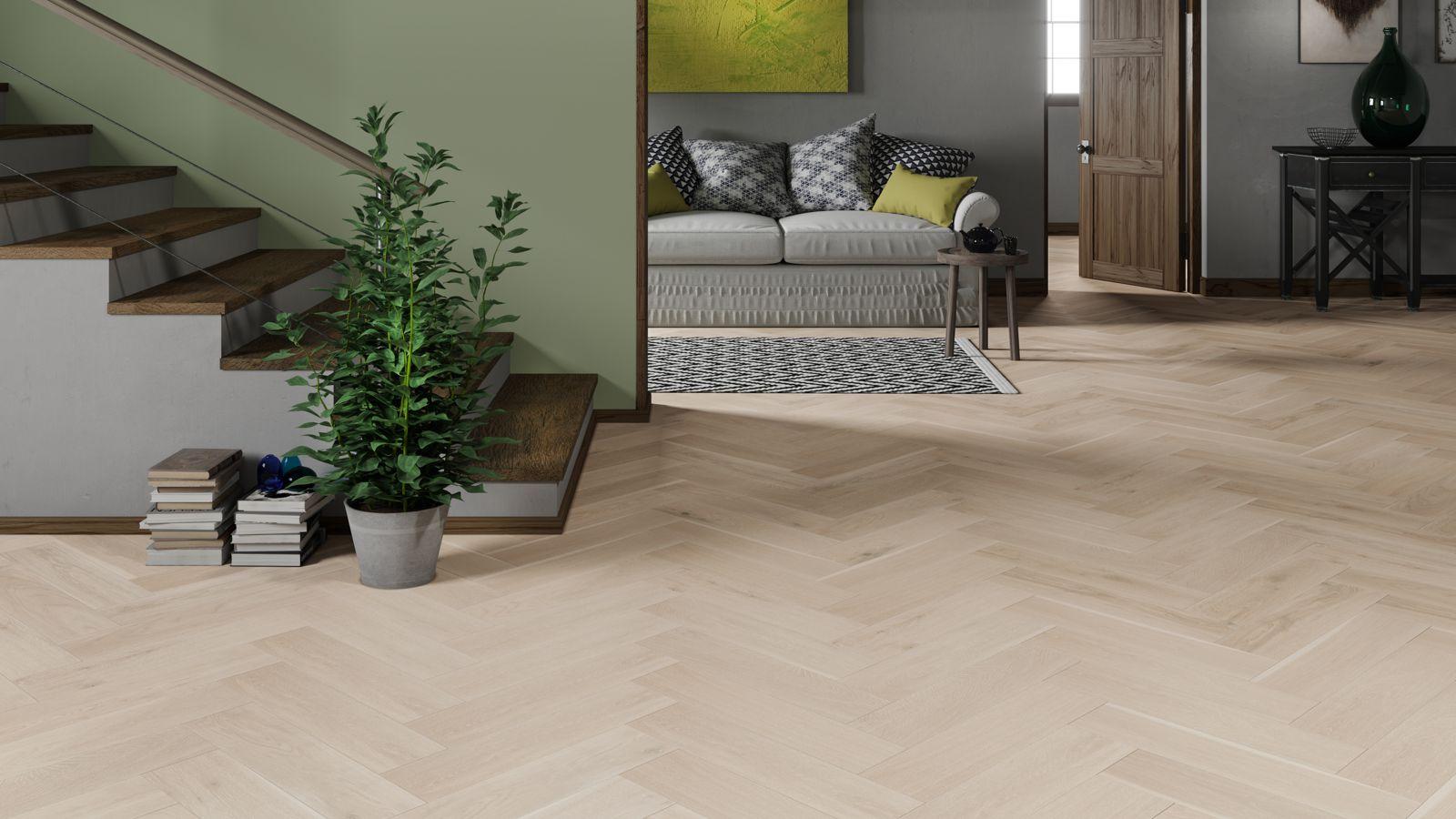 White laminate tile flooring