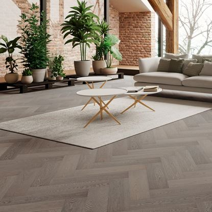 Oak Truffle Grey Herringbone Engineered Parquet