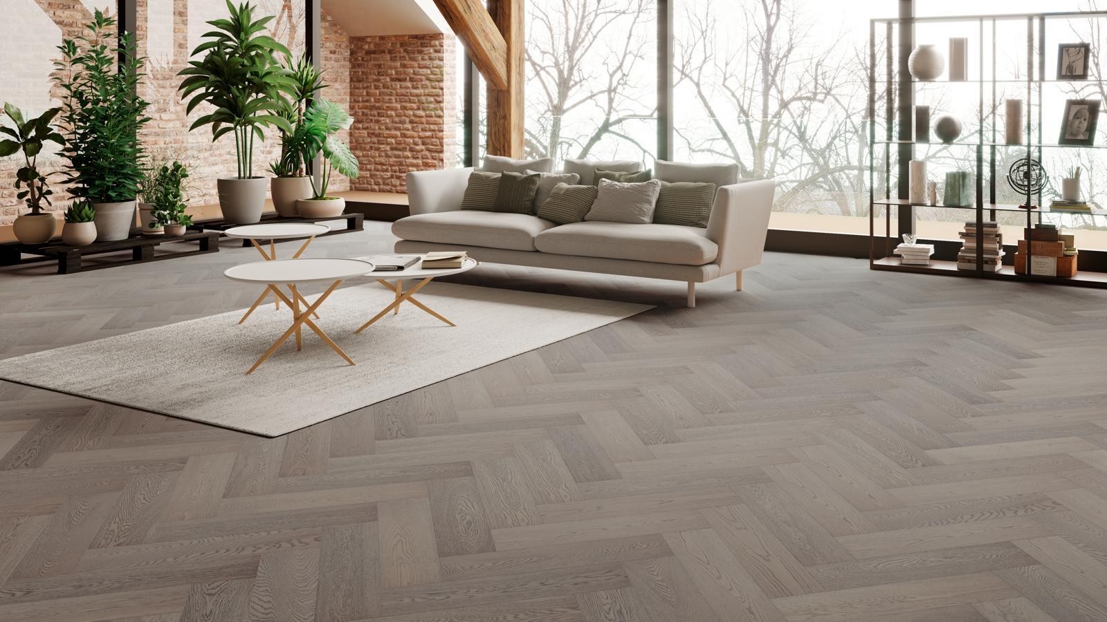 natura oak truffle grey herringbone engineered parquet - Parquet Floor
