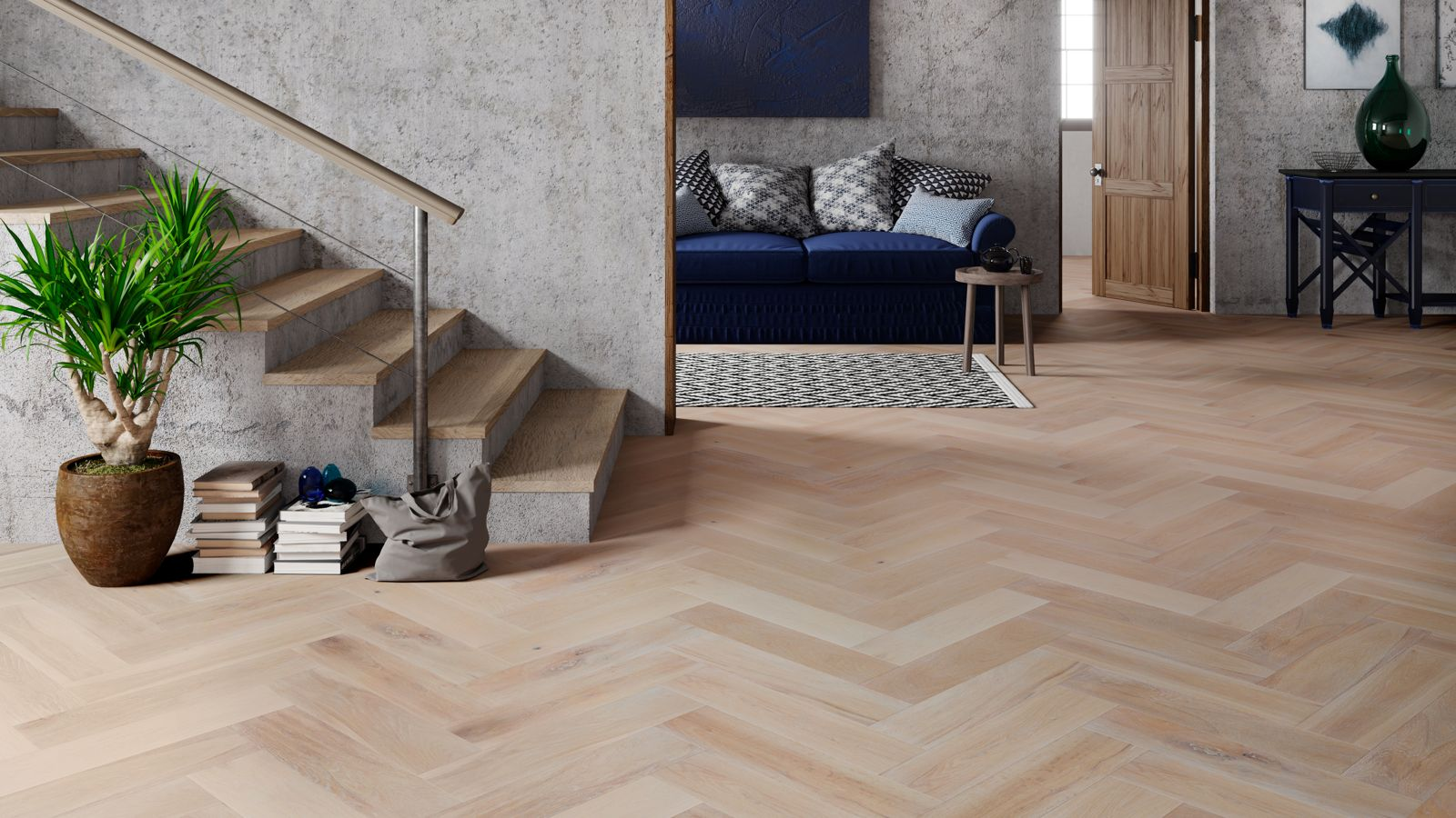 Natura Oak Smoked Brushed White Oiled Herringbone