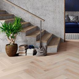 Oak Smoked Brushed White Oiled Herringbone Engineered Parquet Flooring