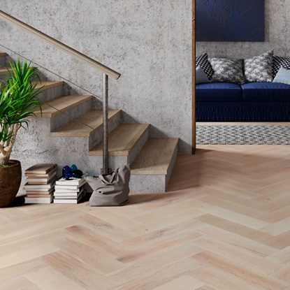 Oak Smoked Brushed White Oiled Herringbone Engineered Parquet