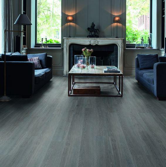 Quickstep Alpha Silk Oak Dark Grey, Dark Grey Laminate Flooring