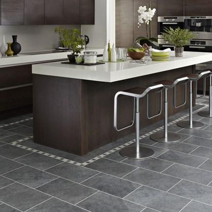 Tile and stone effect vinyl flooring for Black wood effect lino