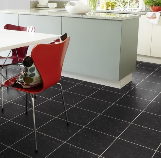 Karndean knight tile midnight black t74 vinyl flooring for Black vinyl floor tiles