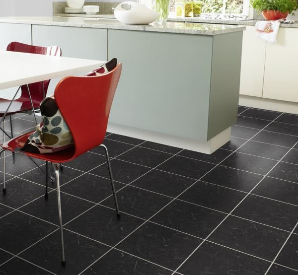 Karndean Knight Tile Midnight Black T74 Vinyl Flooring