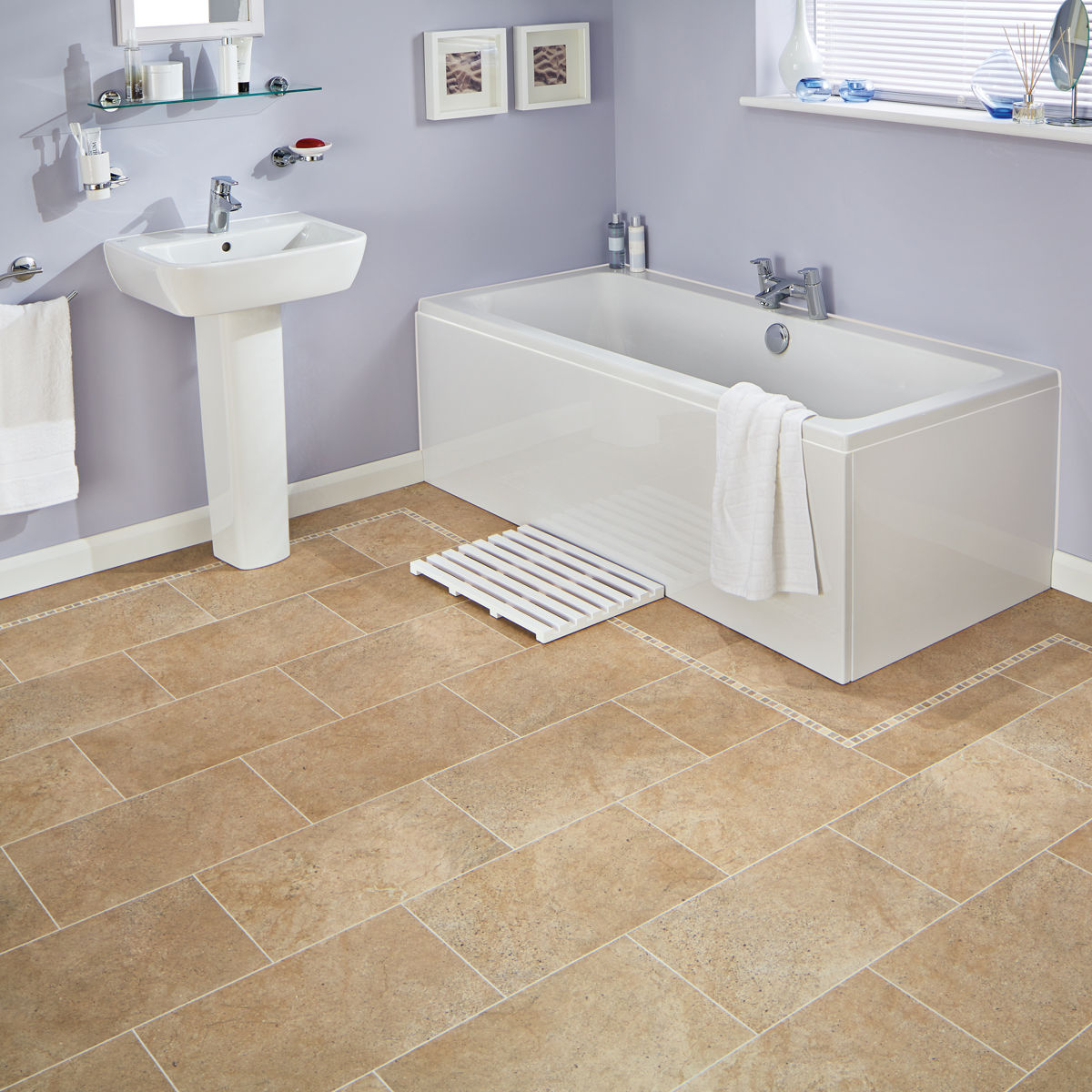 Laying Vinyl Tiles In Bathroom: Karndean Knight Tile Bath Stone ST12 Vinyl Flooring